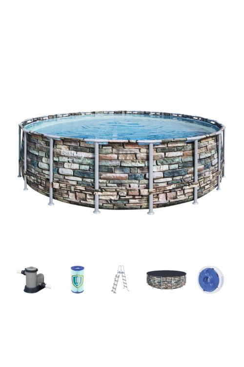 Montažni bazen Power Steel Bestway (š 427 x g 122 cm, filtrska črpalka 3.028 l/h, lestev, ponjava)