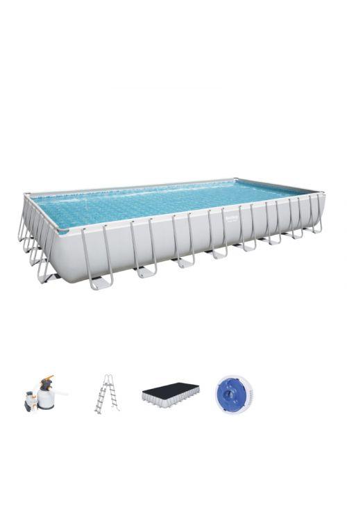 Montažni bazen Bestway Power steel (d 956 x š 488 x g 132 cm, filtrska črpalka 8.327 l/h, lestev, ponjava)