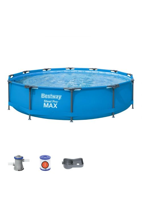 Montažni bazen Round Steel Pro Max Bestway (366 x 76 cm, filtrska črpalka 1.249 l/h)