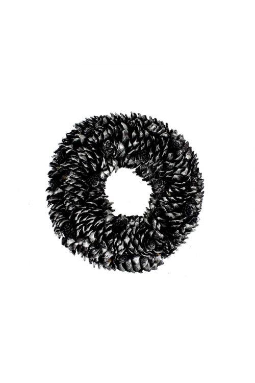 Okrasni venček s storži (črno-srebrn, premer: 33 cm)
