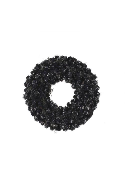 Okrasni venček s storži (črn/srebrn, premer: 33 cm)