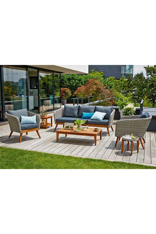 Lounge garnitura SUNFUN Sina (4-delna, les, aluminij in umetna masa, naravna)
