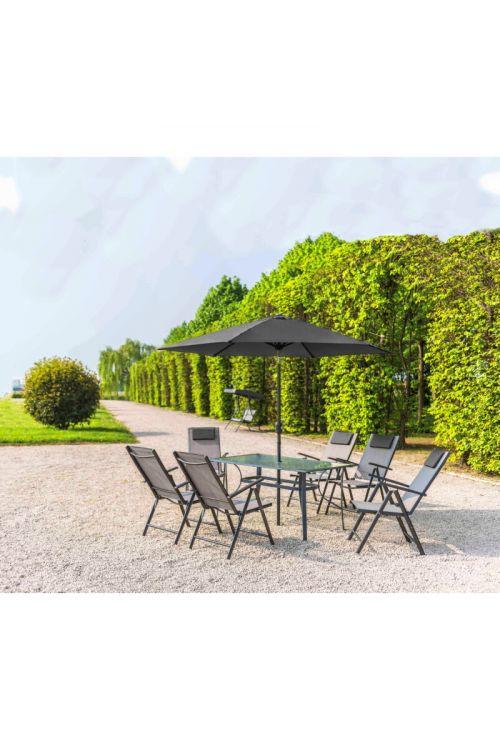 Vrtni set Siesta (6x stol d 65 x š 65 x v 107, miza d 150 x š 90 x v 72 cm s steklom deb. 5 mm, senčnik Ø 270 cm, jekleno ogrodje, brez blazin, sive barve)
