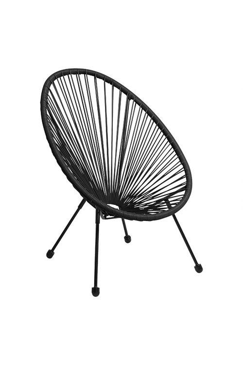 Vrtni stol Relax (d 76 x š 73 x v 89 cm, jekleno ogrodje, PE pletivo, črne barve)
