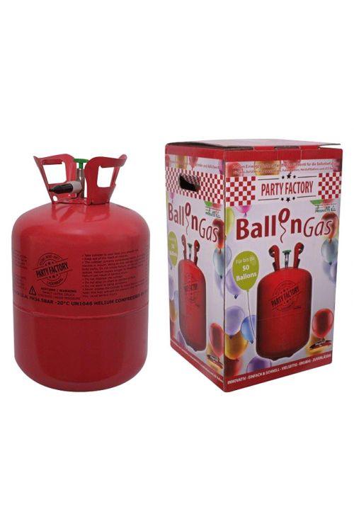 Plinska jeklenka s helijem in 50 baloni Party Factory (prostornina: 0,42 m³, zadostuje za 50 balonov)