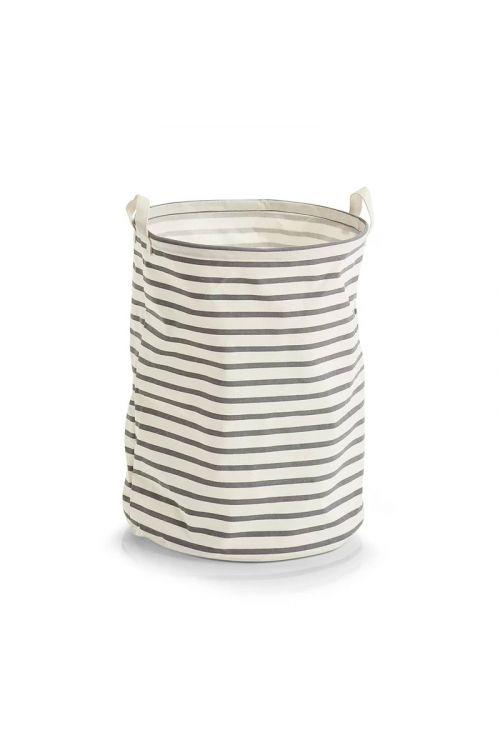 Koš za perilo Zeller Stripes (48 x 38 cm, z ročaji, sivo-bež, tkanina)