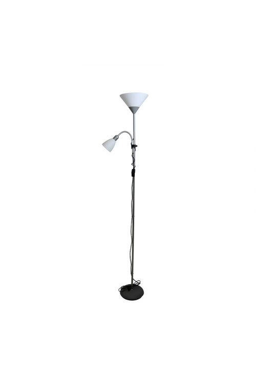 Stoječa svetilka Ferotehna Home (1 x 60 W, 1 x 40 W, premer: 25 cm, višina: 178 cm, E14/E27, srebrna)