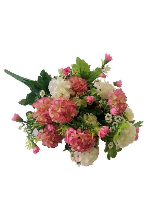 Umetni šopek iz hortenzij (bel, roza)