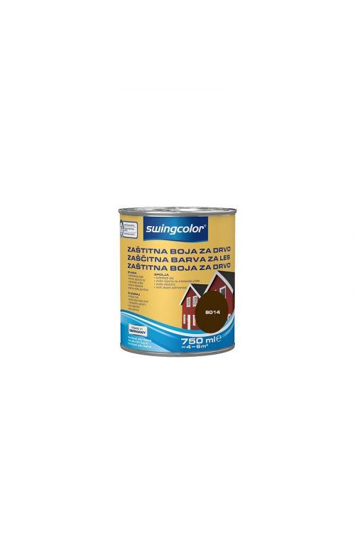 ZAŠČITNA BARVA ZA LES SWINGCOLOR, TEMNO RJAVA (750 ml, na vodni osnovi, zelo elastična, pokrivna, visoko odporna proti vremenskim vplivom)