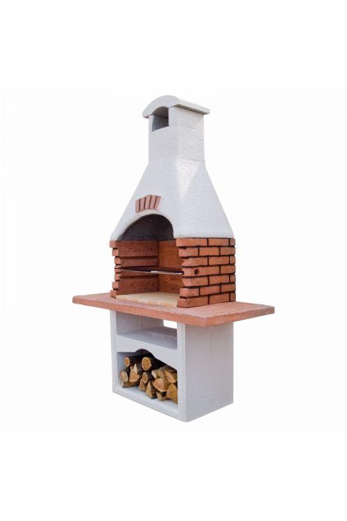 Betonski kamin Gast z nikljano rešetko (kurišče: 65 x 41 cm, delovna površina: 140,5 x 61 cm, iz ognjevzdržnega betona)
