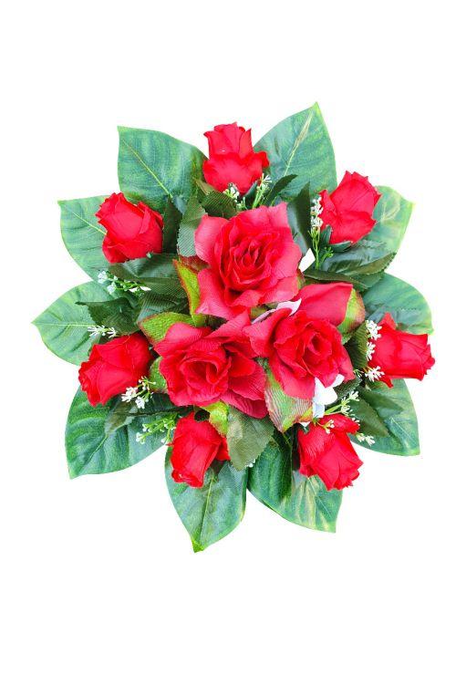 Aranžma umetnih vrtnic (rdeča, umetna masa)