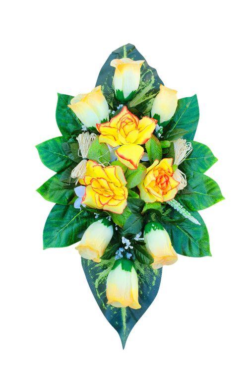 Nagrobni aranžma iz umetnih vrtnic in drugega zelenja (velikost aranžmaja: mali)