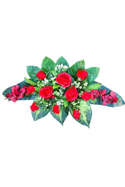 Cvetlični aranžma (umetne vrtnice in orhideje ter drugo rastlinje)