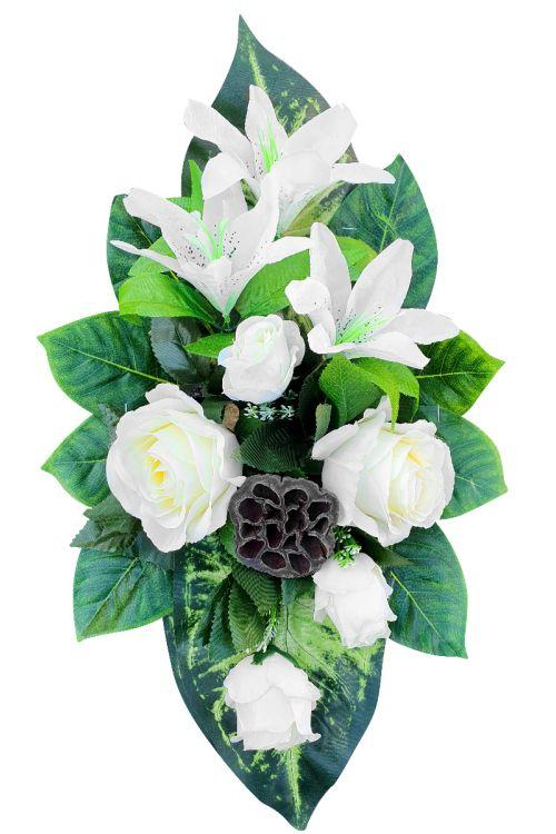 Cvetlični aranžma (srednji, bele umetne vrtnice in drugo rastlinje)