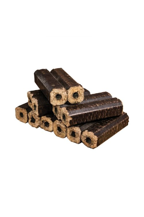 Premium leseni oglati briketi z luknjo v PVC foliji (bukev)