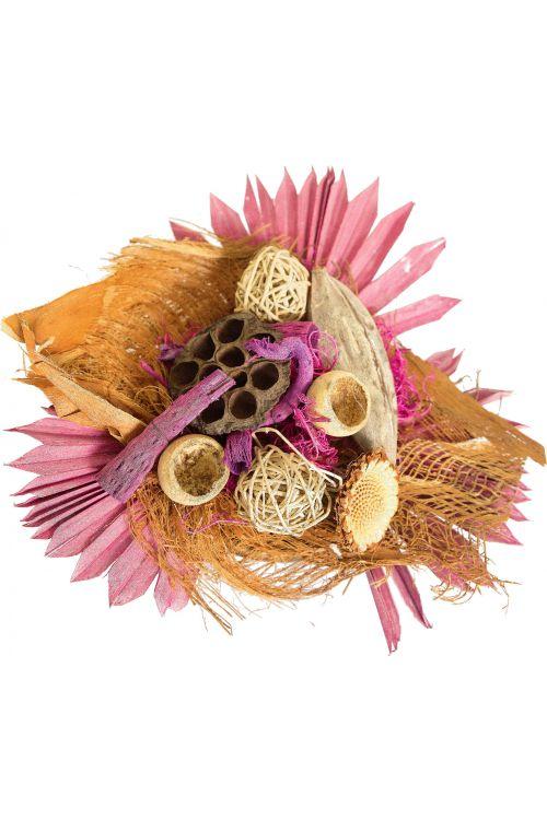 Cvetlični aranžma (umetne rože in drugo rastlinje, barva: roza)