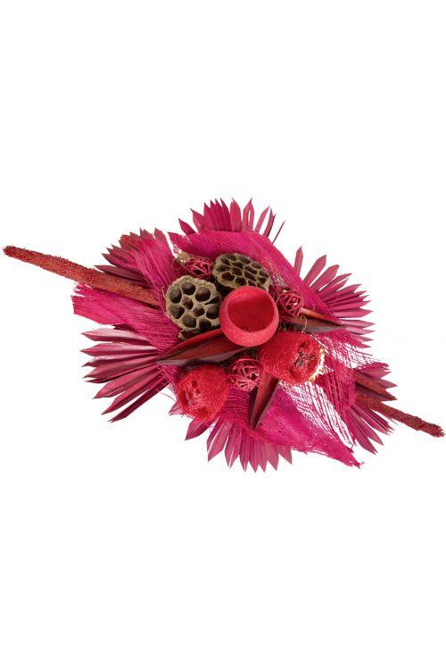 Cvetlični aranžma (umetne rože in drugo rastlinje, magenta rdeče barve)