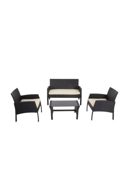 Lounge vrtna garnitura SUNFUN Cindy (dvosed d 114 x š 54 x v 74 cm, 2x stol d 62 x š 62 x v 74 cm, miza s stekleno ploščo d 80 x š 38 x v 45 cm, s sedalnimi blazinami)