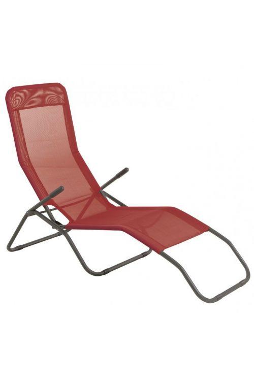 Ležalnik Sunfun Marissa (d 137 x š 63 x v 103 cm, aluminijasto ogrodje, tekstilen, rdeče barve)