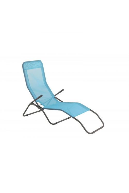 Ležalnik Sunfun Marissa (d 137 x š 63 x v 103 cm, aluminijasto ogrodje, tekstilen, modre barve)