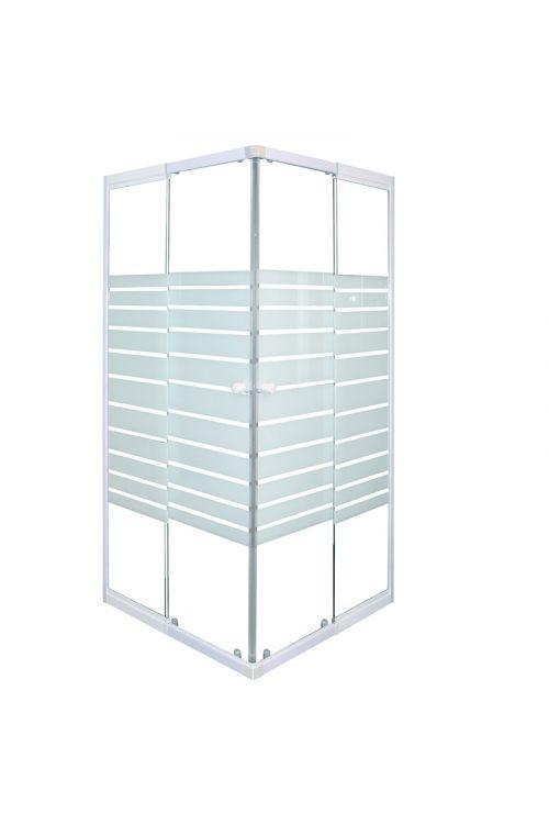 Kvadratna tuš kabina Sanotechnik (nastavljiva po širini 80-90 cm x 190 cm, beli profili, steklo: 5 mm)