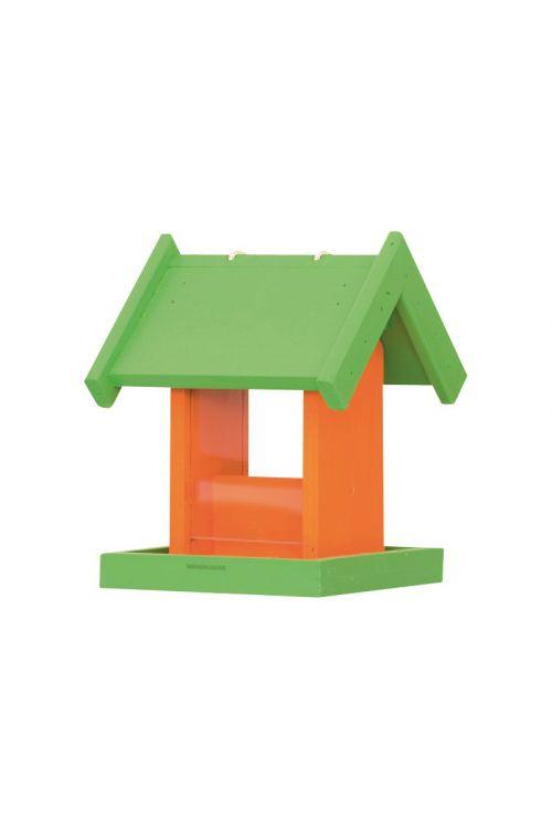 Hranilnica za ptice Panorama (17 x 17 x 23,5 cm, oranžno-zelena)