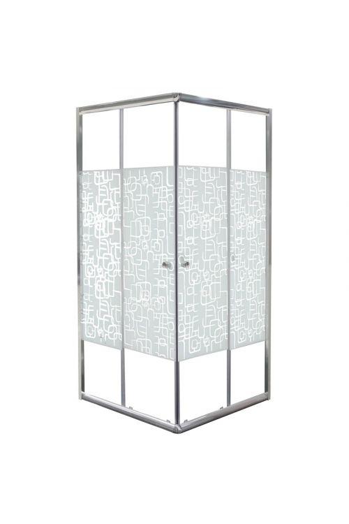 Kvadratna tuš kabina Como (80 x 80 x 190 cm, srebrni profili, steklo: 4 mm)