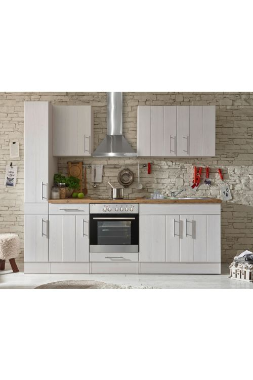 Kuhinjski komplet Respekta Premium BERP (240 cm, z el. napravami, imitacija macesna, bele barve)