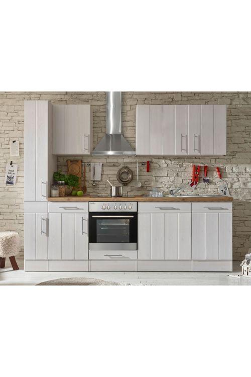 Kuhinjski komplet Respekta Premium BERP (250 cm, z el. napravami, imitacija macesna, bele barve)