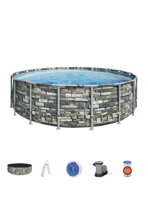 Montažni bazen Bestway Power Steel (Ø 549 x v 132 cm, filtrska črpalka: 5.678 l/h, z lestvijo in ponjavo)