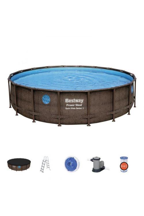 Montažni bazen Bestway Power Steel Vista (Ø 549 x v 122 cm, filtrska črpalka: 5.678 l/h, z lestvijo in ponjavo)