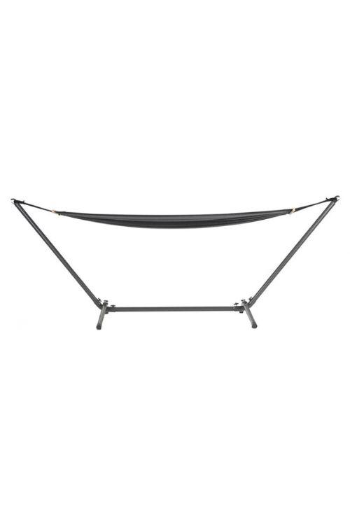 Viseča mreža s stojalom (d 200 x š 100 cm, nosilnost 120 kg, poliester/bombaž, črna)