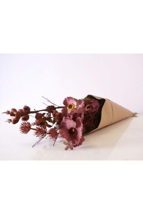Šopek umetnega cvetja (63 cm, umetna masa in papir, svetla bordo)