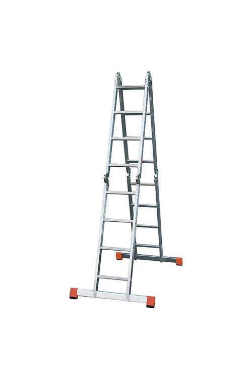 Zglobna lestev Stabilomat Safeline (delovna višina: 5,75 m, število stopnic: 4 x 4 letve, zložljiva)