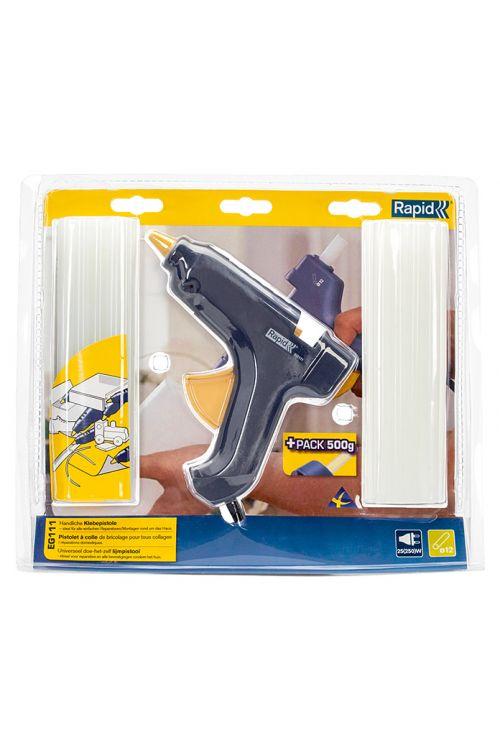 Pištola za vroče lepljenje Rapid EG 111 + vložki 500 g (47 W, premer vložkov: 12 mm)