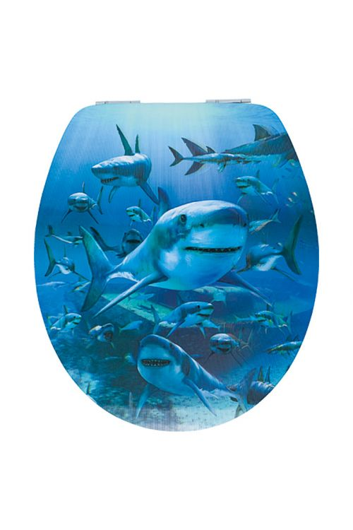 WC deska POSEIDON Morski pes 3D (lesena, počasno spuščanje, modra)