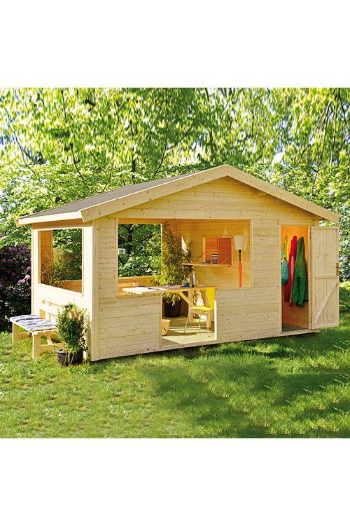 Piknik hiška Relax (les, površina: 12,2 m², debelina stene: 28 mm)