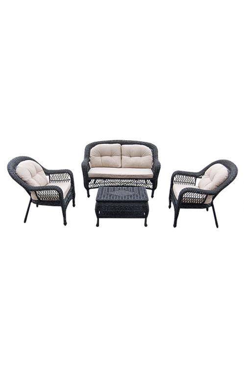 Lounge set SUNFUN Savannah (dvosed d 142 x š 76 x v 90 cm, 2 x naslonjač d 75 x š 76 x v 90 cm, mizica d 76 x š 46 x v 45 cm s predalom za shranjevanje, z blazinami, jekleno ogrodje, PE pletivo)
