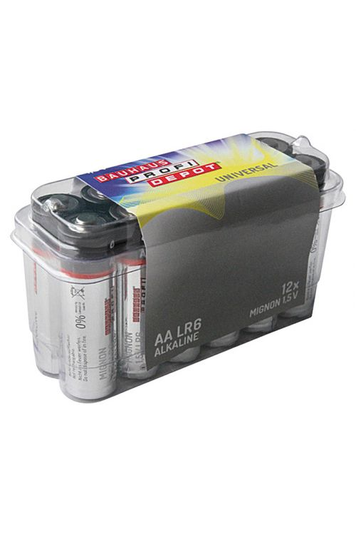 Baterija Profi Depot (Mignon AA, alkalno-manganova, 1,5 V, 12 kosov)