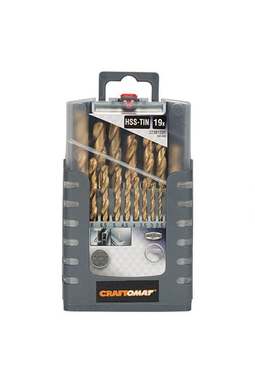 Komplet kovinskih svedrov Craftomat HSS-TIN Gripbox (komplet je sestavljen iz: 19 svedrov od 1 do 10 mm, DIN 338)