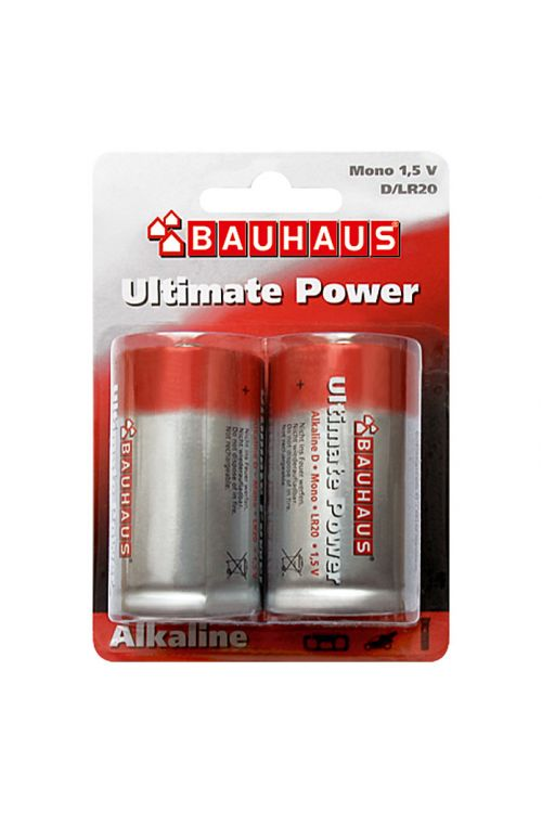 Alkalna baterija BAUHAUS Ultimate Power (Mono D, alkalno-manganova, 1,5 V, 2 kosa)