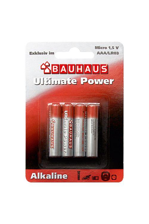 Alkalna baterija BAUHAUS Ultimate Power (Micro AAA, alkalno-manganova, 1,5 V, 4 kosi)