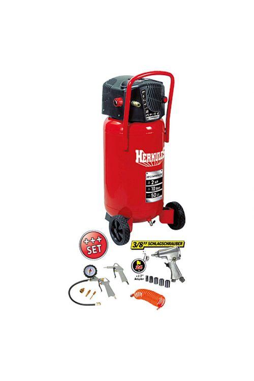 Kompresorski komplet Herkules Fifty + Kit (moč motorja: 1,5 kW/2 KM, tlak: 10 barov, prostornina kotla: 50 l)