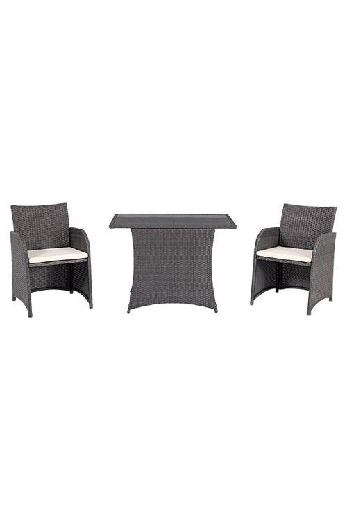 Balkonski set SUNFUN Olivia (2 x stol d 55 x š 52 x v 82 cm, miza z varnostnim steklom d 100 x š 60 x v 72 cm, aluminijasto ogrodje, PE pletivo, s sedalnimi blazinami)