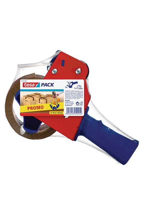 Ročni odvijalec tesa Pack (vklj. z rjavim lepilnim trakom 50 m x 48 mm, rdeč/moder)