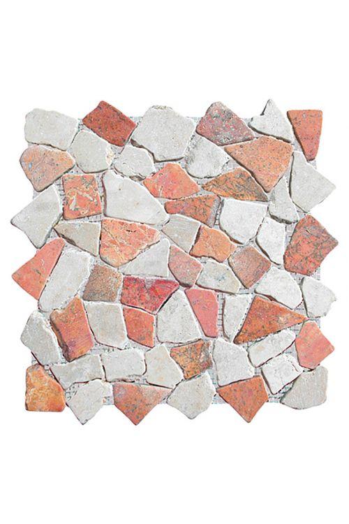 Lomljeni mozaik Marmor (30 x 30 cm, bel/roza, mat)