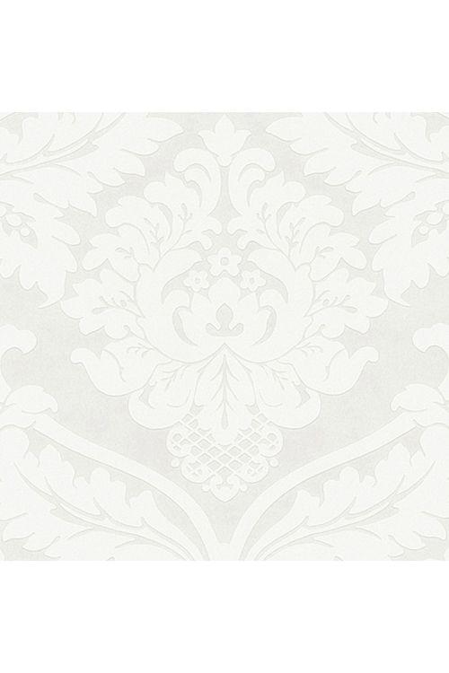 Tapeta iz netkane tekstilije Flock (kovinska/bela, ornament, 10,05 x 0,53 m)