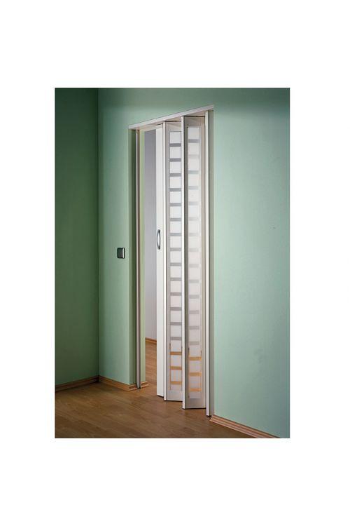 Steklena harmonika vrata Marley New Generation (860 x 2050 mm, bela, belo satinirani vstavki iz umetniško oblikovanega stekla s karo vzorcem)