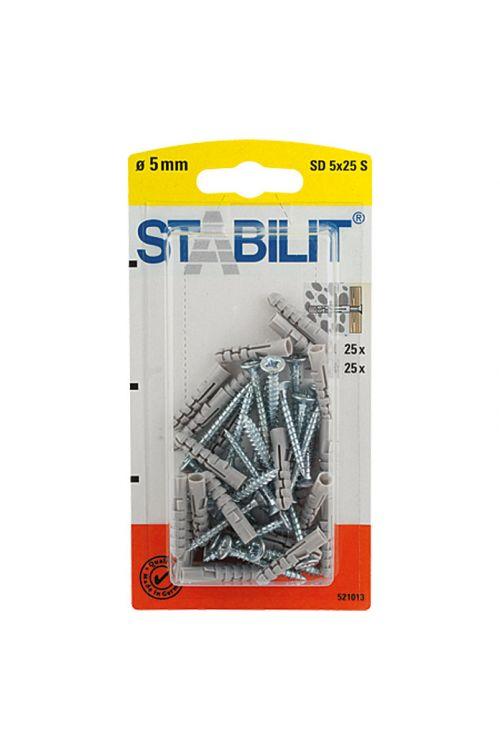 Razcepni zidni vložek Stabilit (premer zidnega vložka: 5 mm, dolžina vložka: 25 mm, primeren za: Polni zidaki in zidovi, 25 kosov, z vijaki/kavlji)