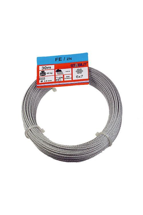 Žična vrv Stabilit (obremenljivost: 40 kg, 2 mm x 30 m, pocinkana)
